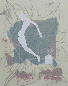 """Threaded Figure"" 2009, 36cm x 27cm, mixed media on paper"